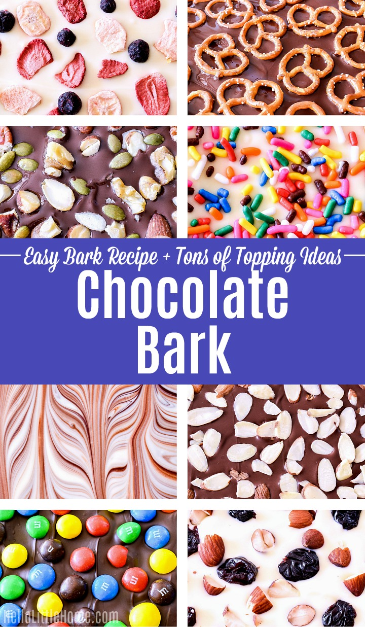 A photo collage with different kinds of Chocolate Bark.