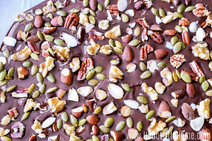 Dark chocolate sprinkled with almonds, walnuts, pecans, and pumpkin seeds.