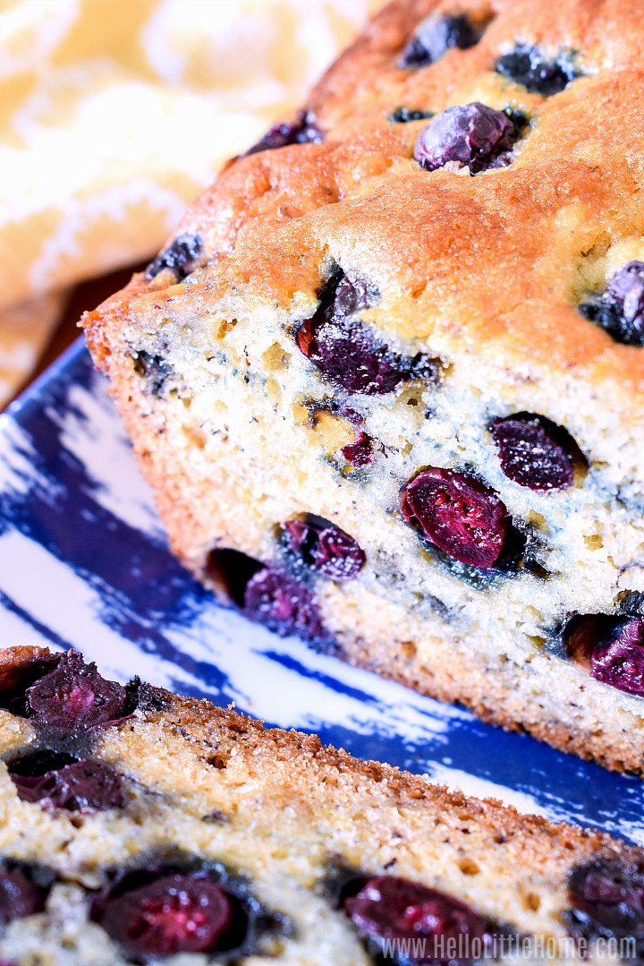 Closeup image of inside of banana and blueberry bread.