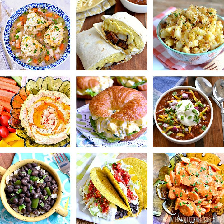 A collage of basic pantry recipe.