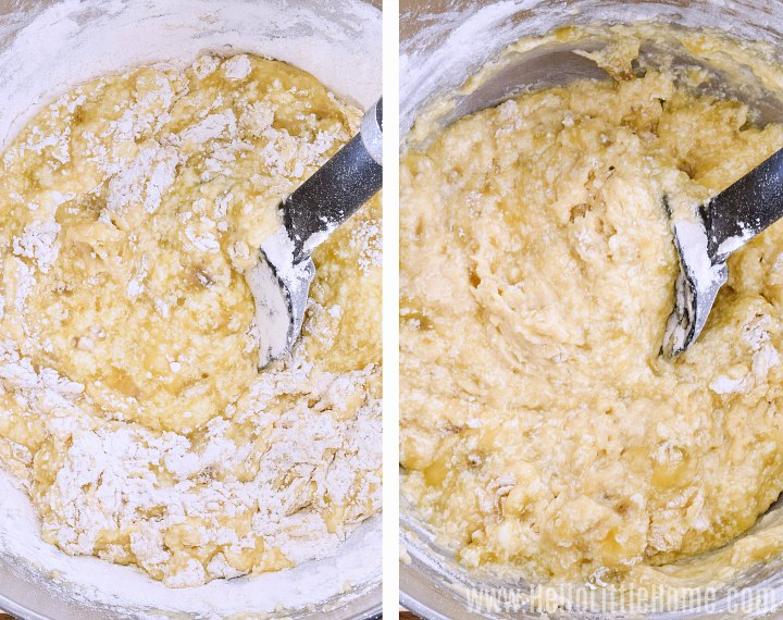 Two side-by-side photos showing how to mix flour into batter with a spatula.