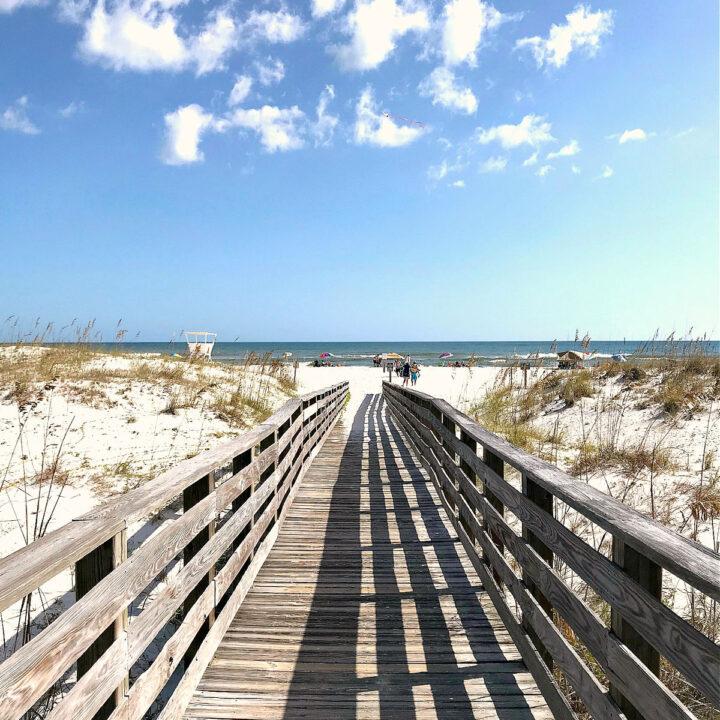 A boardwalk leading to beach in Orange Beach, Alabama.