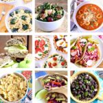 A photo collage of different quick vegetarian recipes.