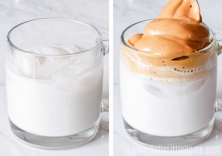 A photo collage showing how to add coffee foam to milk.
