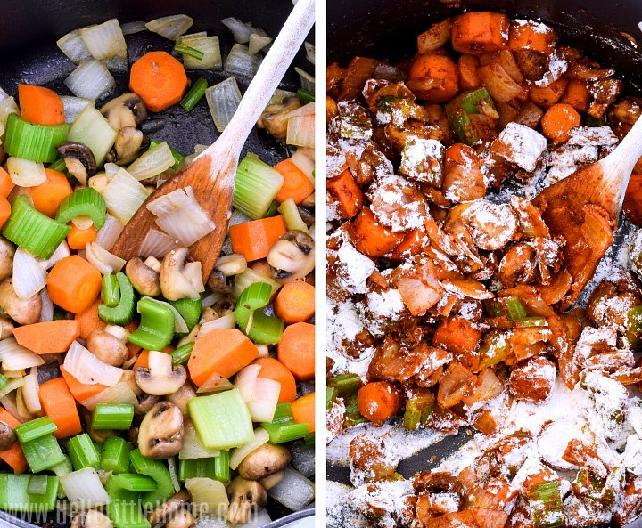 A photo collage showing a wood spoon mixing paprika and flour into veggies.