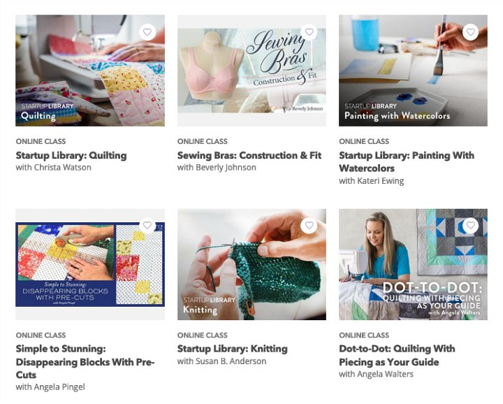 A screenshot of different craft classes.
