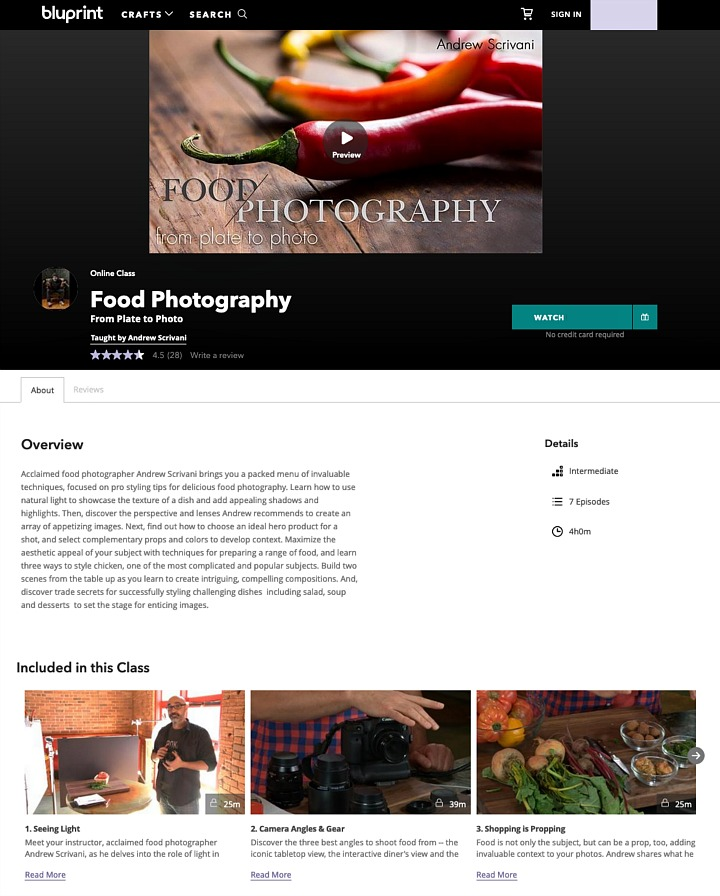A sample page from an online photography class.