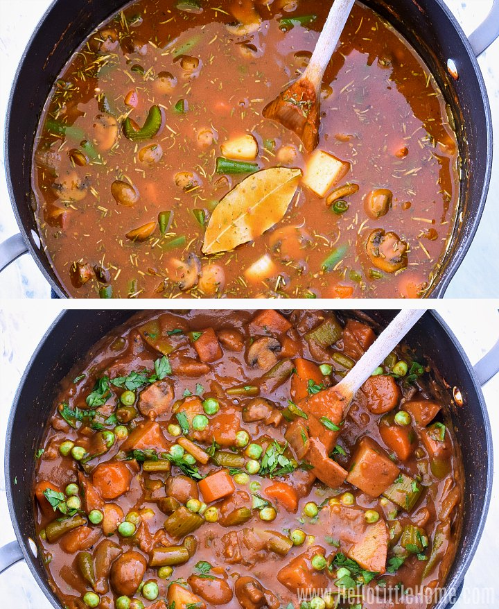 A photo collage showing a pot of veggie stew before and after simmering it.