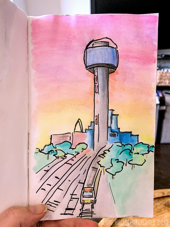 A watercolor of Reunion Tower / The Ball in Downtown Dallas.