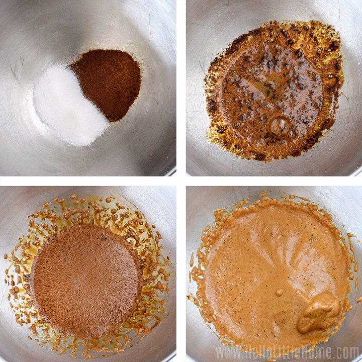 Collage showing different stages of whipping coffee, sugar, and water with a mixer.