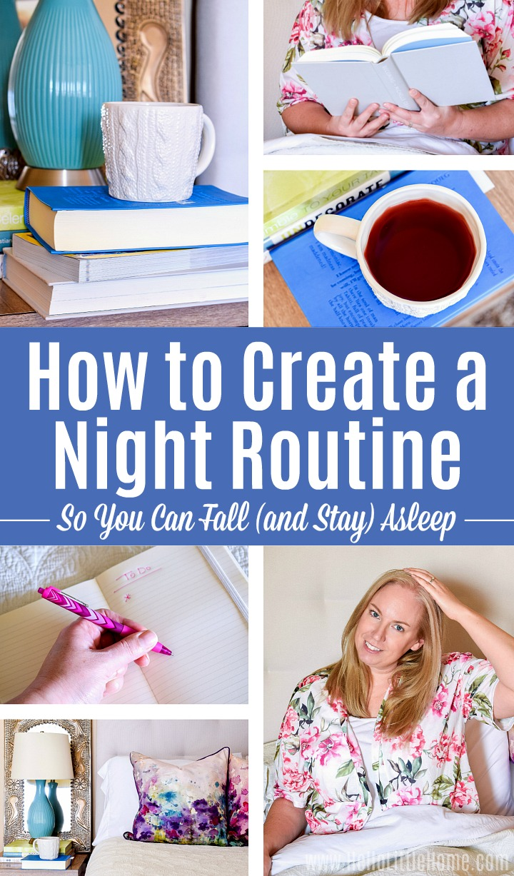 A collage of different ways to create a night routine.