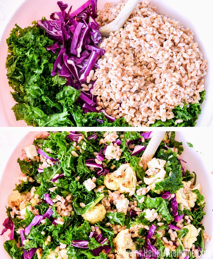 A photo collage showing salad ingredients in a bowl and the finished, mixed farro salad.