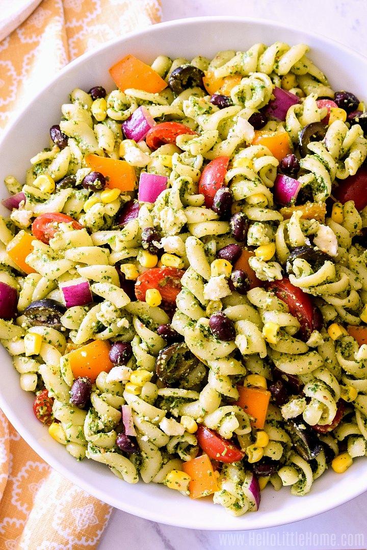 Closeup of a large bowl of pasta salad.