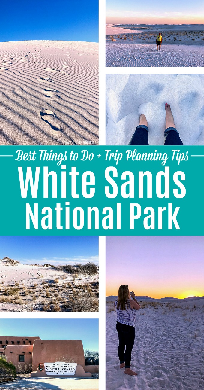 A collage of photos showing White Sands National Park.