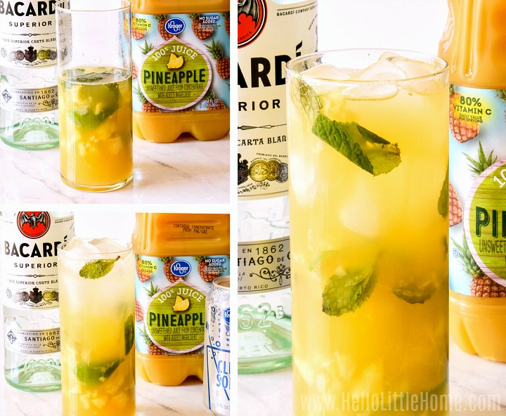A photo collage showing how to add rum and pineapple juice to drink.