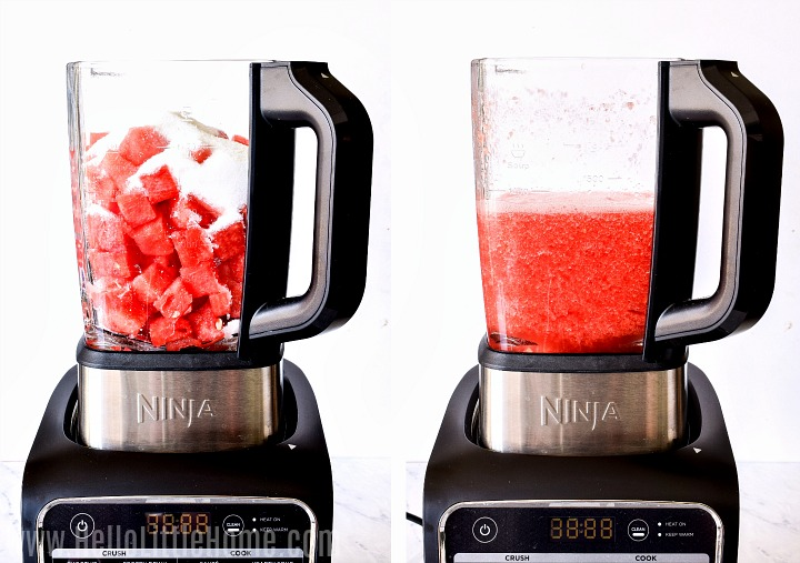 Photo collage showing recipe ingredients in a blender before and after blending.