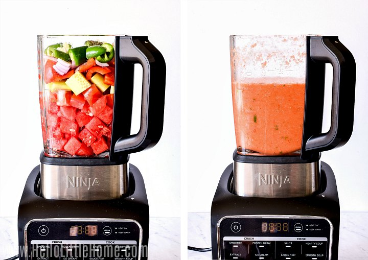 Photo collage showing soup in blender, before and after blending.