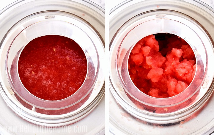 Photo collage showing the watermelon mixture in an ice cream machine before and after churning.