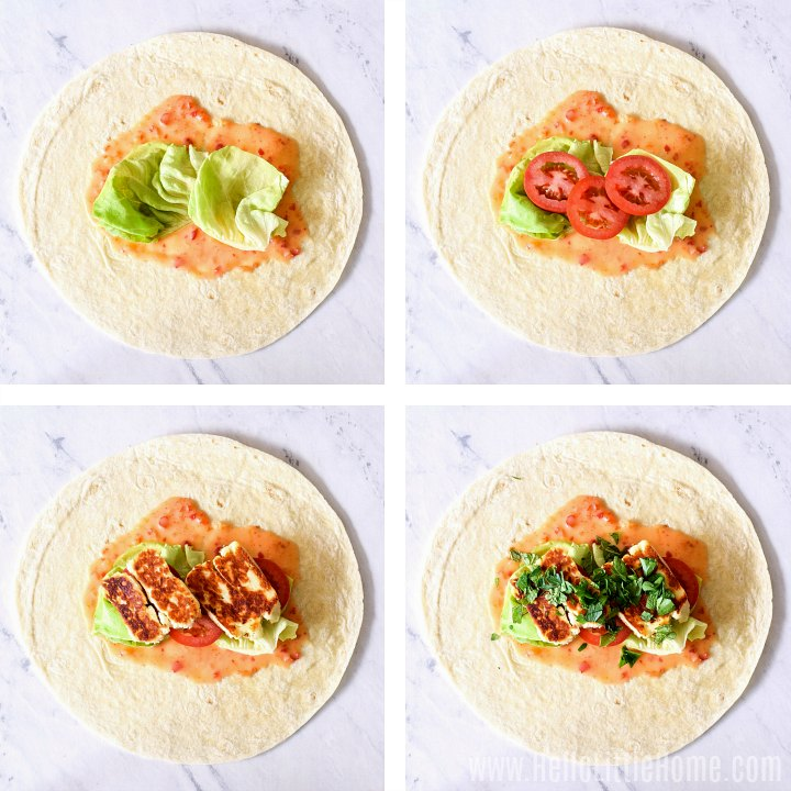 Photo collage showing ingredients being added to tortilla.