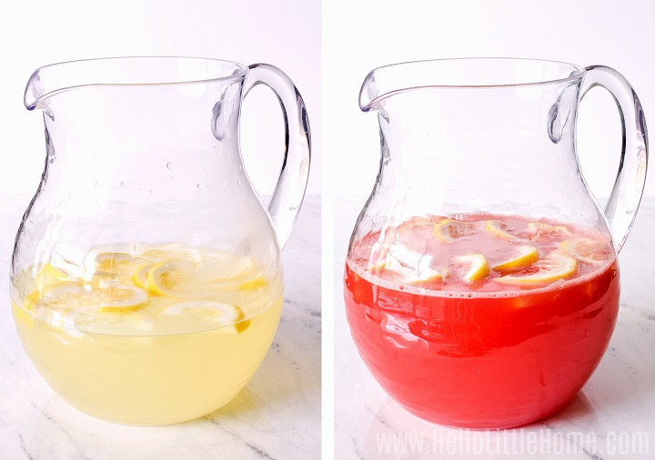 A photo collage showing a pitcher of lemonade before and after adding watermelon puree.