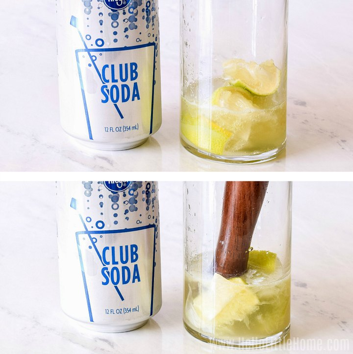 Photo collage with club soda and glass with limes and sugar on a marble counter (before and after muddling).