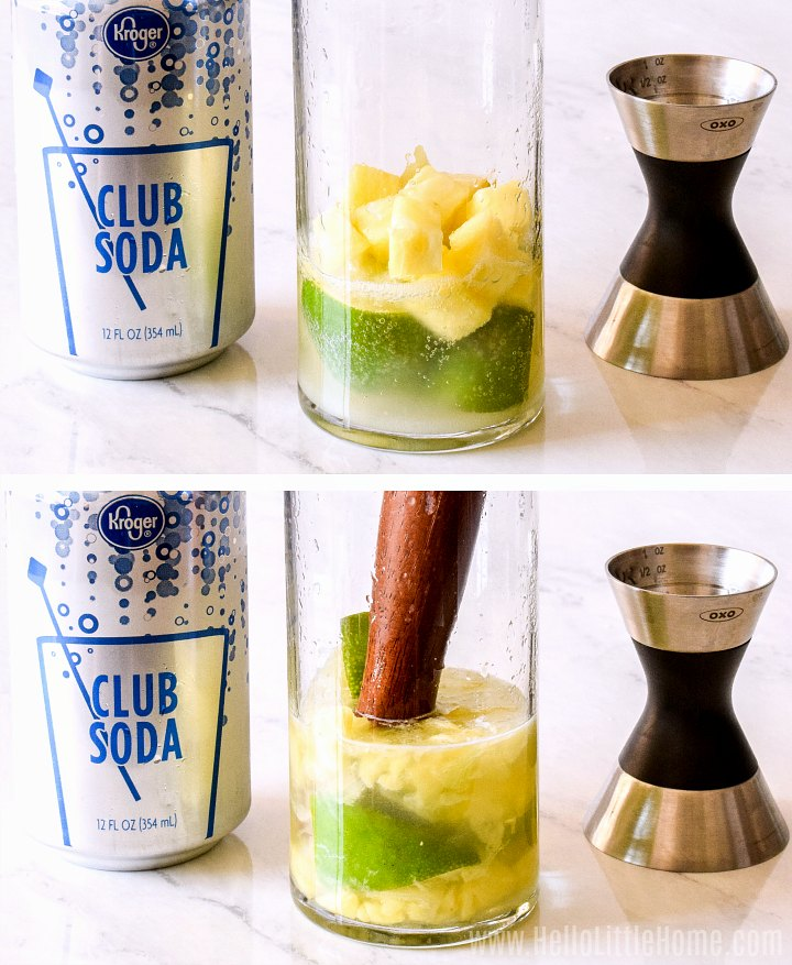 A photo collage showing how to muddle pineapple, sugar, and lime.