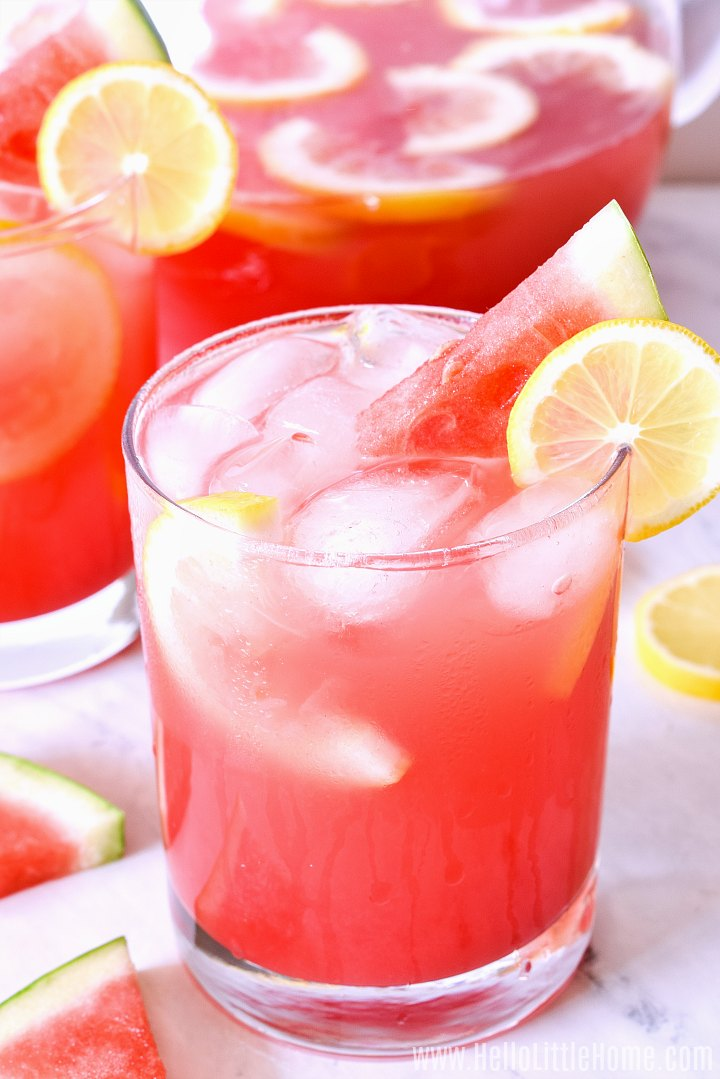 Closeup of the watermelon and lemon drink in a short glass.