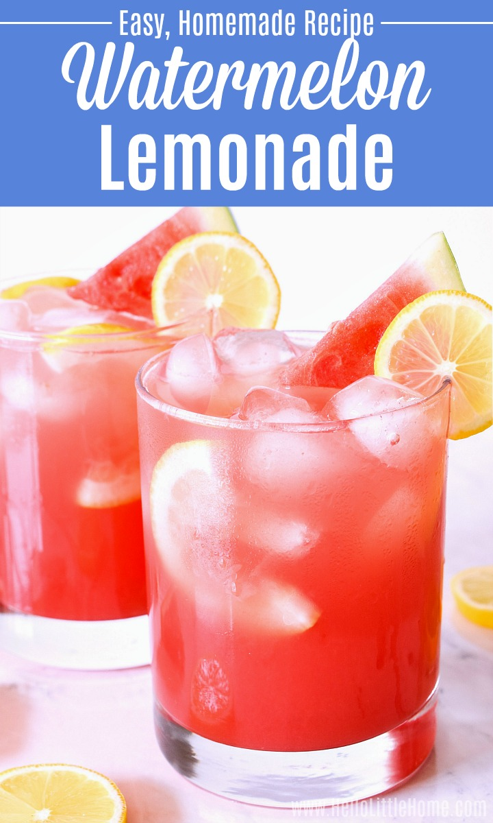 Two glasses of Watermelon Lemonade on a marble counter.