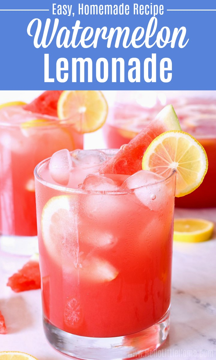 A glass of Watermelon Lemonade with another glass and a pitcher in the background.