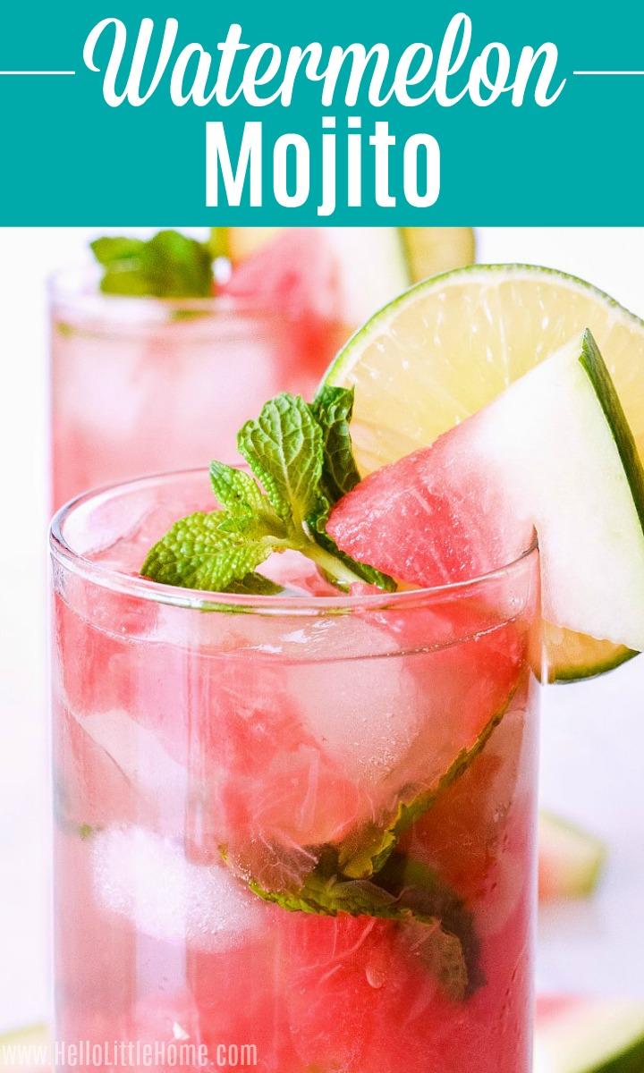 Closeup of a watermelon mojito with mint garnish.