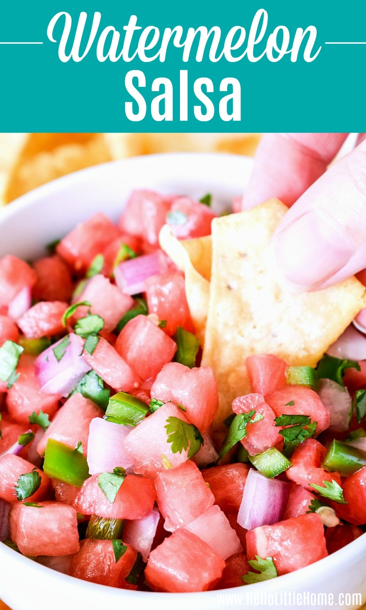 A hand holding a tortilla chip in a bowl of Watermelon Salsa.