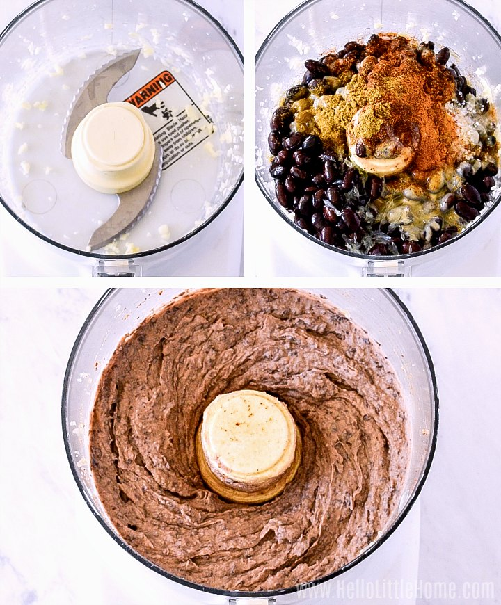 Photo collage showing process to make hummus in a food processor.