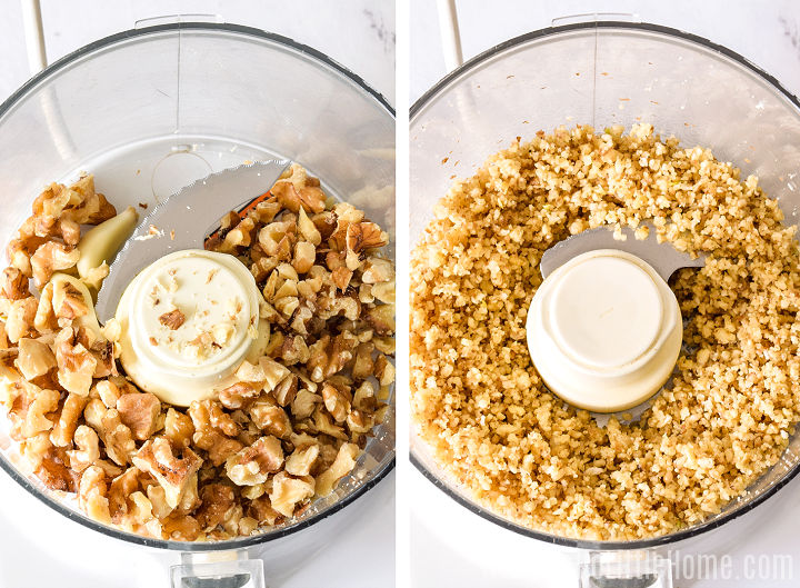 A photo collage showing walnuts and garlic in a food processor, before and after blending.