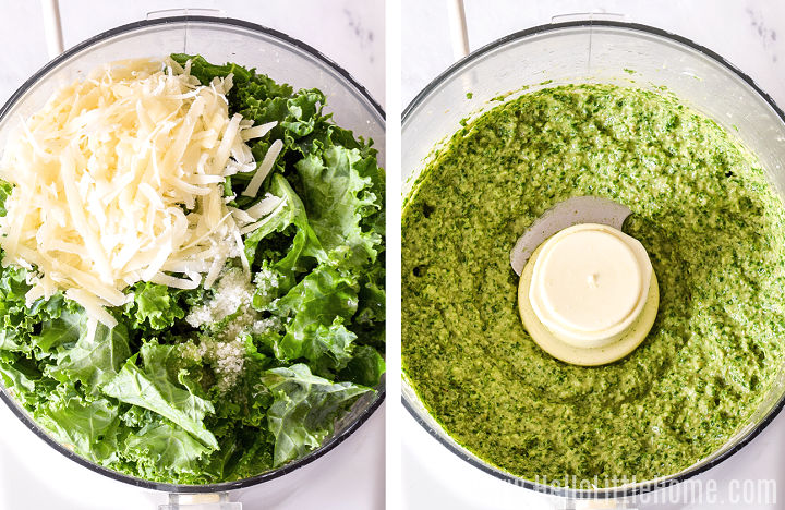 Pesto ingredients in a food processor (shown before and after blending).