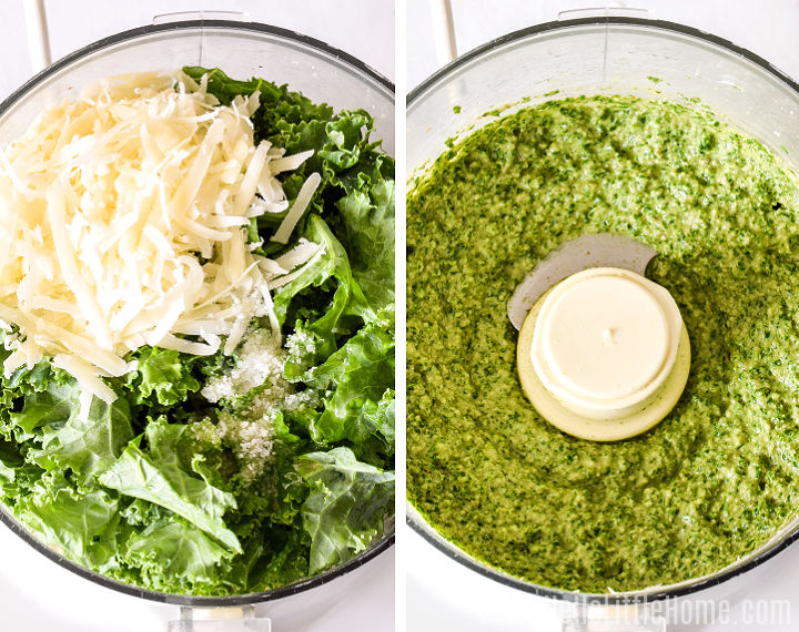 A photo collage showing ingredients in a food processor, before and after blending.
