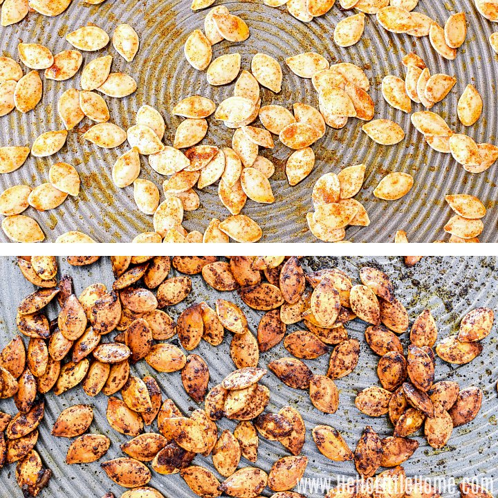 A photo collage showing the seeds on a baking sheet before and after roasting.