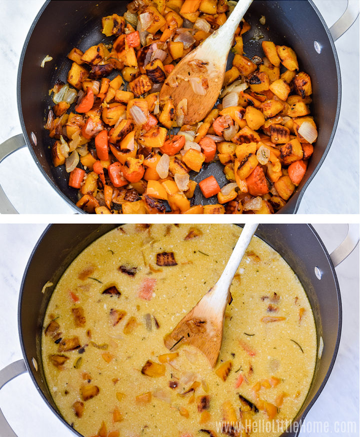 A photo collage showing the roasted vegetables in a large pot before and after adding the broth.