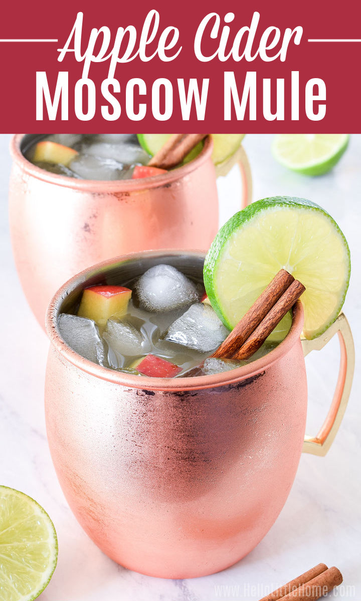 An Apple Cider Moscow Mule in a copper mug garnished with a cinnamon stick and lime slice with another drink in the background.