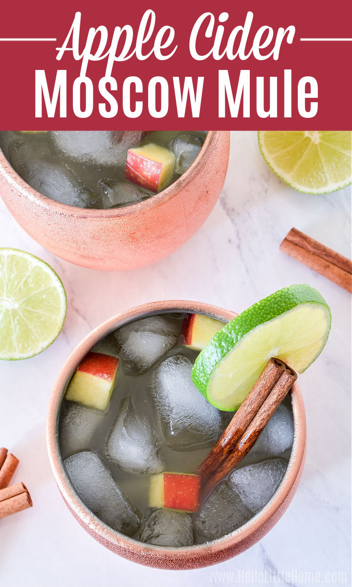 An overhead image of two Apple Cider Moscow Mules surrounded by lime slices and cinnamon sticks.