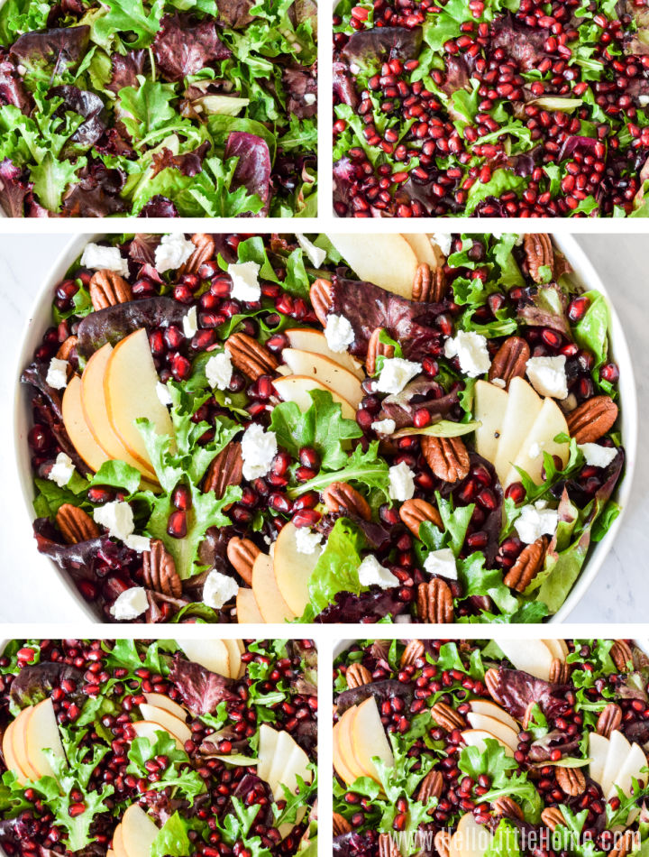 A photo collage showing the salad as each topping is added.