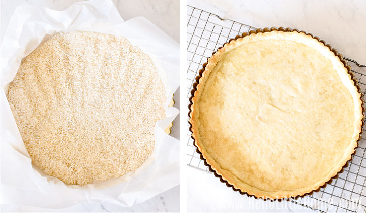 A photo collage showing the tart crust lined with parchment and rice, and then empty after blind baking it.