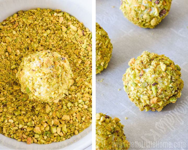 Photo collage showing blue cheese balls being rolled in pistachio coating and on a baking tray.