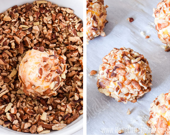 Photo collage showing cheddar cheese balls being rolled in pecan coating and on a baking tray.