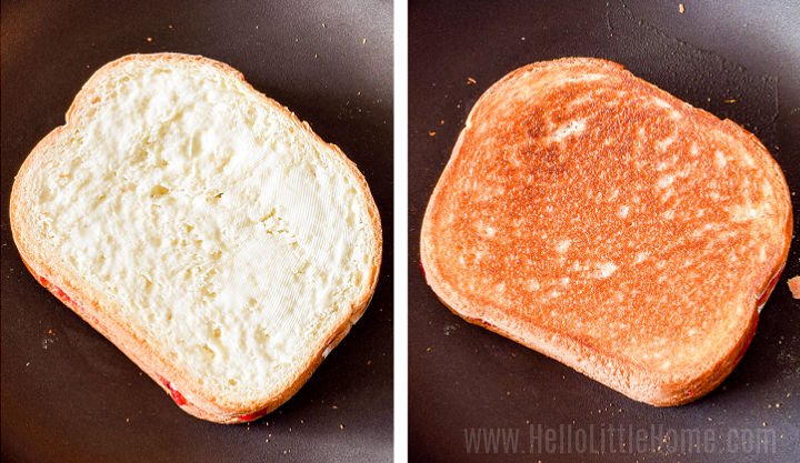 A photo collage showing the sandwich in a skillet before and after grilling.