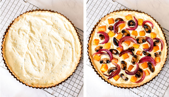 A photo collage showing the tart crust filled with the ricotta mixture and then topped with roasted vegetables before baking.