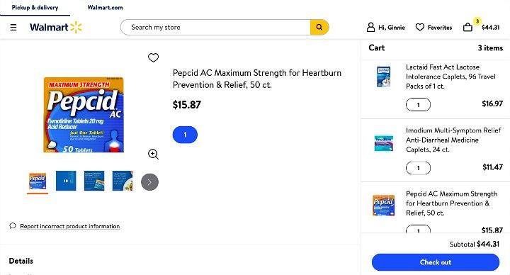 Pepcid in an online Walmart shopping cart.