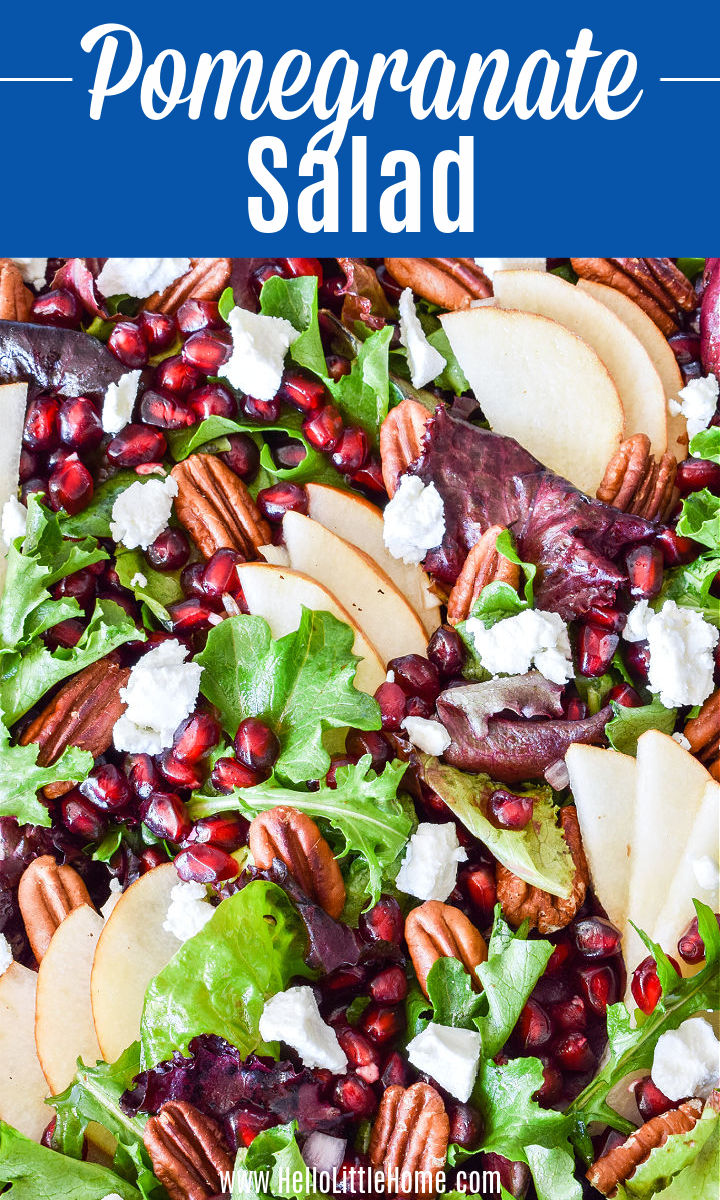 Closeup of a Pomegranate Salad topped with pears, pecans, and goat cheese.