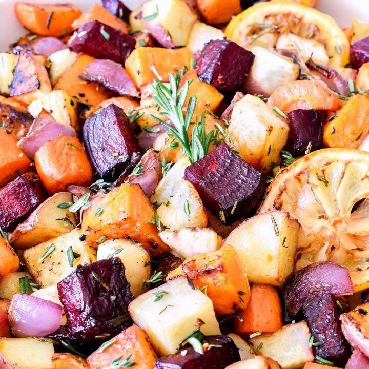 Roasted Root Vegetables topped with fresh herbs.