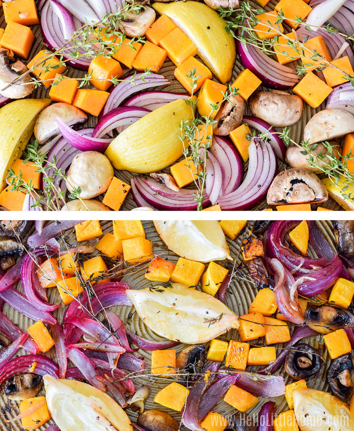 A photo collage showing the vegetables before and after roasting.