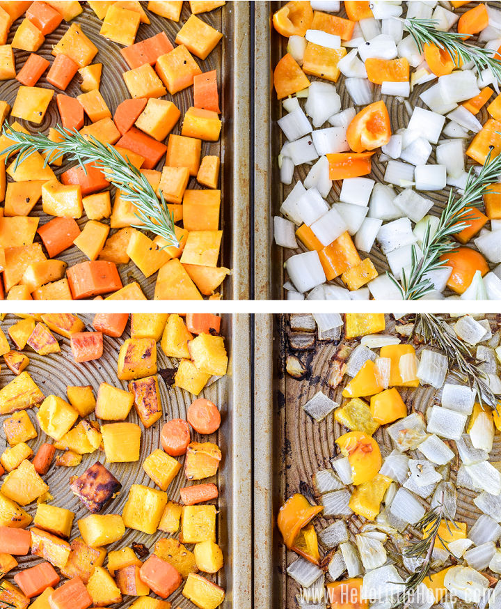 A photo collage showing the soup vegetables before and after roasting.